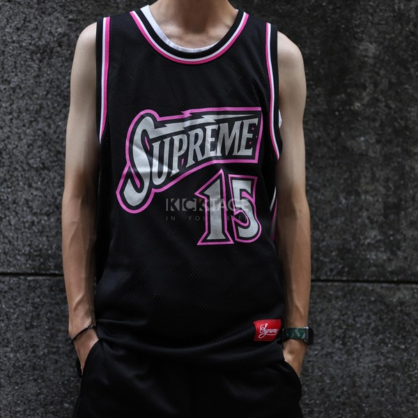 77373ec20541 KS▸Supreme Bolt Basketball Jersey 18SS 黑色黑粉球衣背心【SUP220】   KICKSTAGE